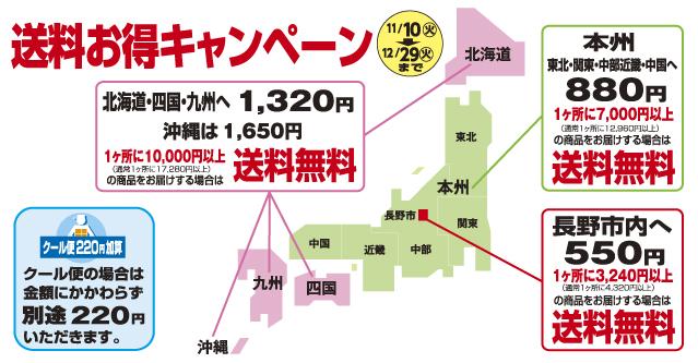 2020冬の送料キャンペーン11/10~12/29 対象金額は7千円と1万円